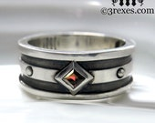 Mens Silver Wedding Band Moorish Gothic ONE Stone Garnet Stone Size 12.75