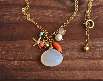 14kt Gold Pink Chalcedony Necklace - Mixed Stone Cluster Necklace - Boho Beachy Necklace - Gold Starfish Necklace - Pink Orange Necklace