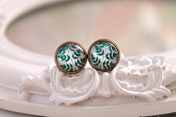 Green fern leaf earrings studs  sweet lolita feminine
