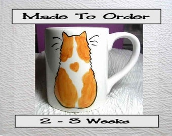 Ginger & White Cat Mug Original Handmade To Order With Paws On Back by GMS
