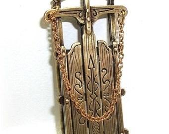 Sled Sleigh  JJ Jonette vintage pin brooch