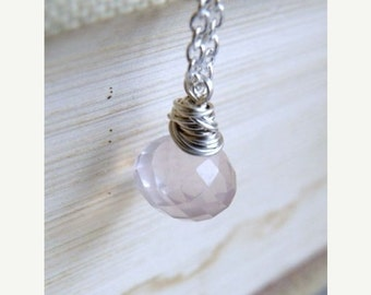Super SALE AAA Rose Quartz Gemstone Sterling Pendant Necklace GN4