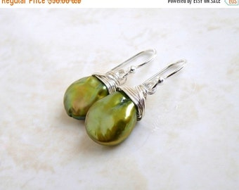 Super SALE Green Coin Pearl Wire Wrapped Sterling Dangle Earrings GE5