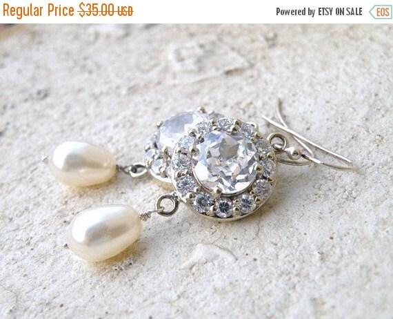 27% Off Sale Bridal Earrings Swarovski Ivory Pearl CZ Sterling Dangle CNE3