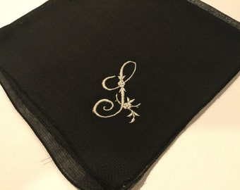 Vintage Black Hanky with a White Initial S Handkerchief Hankie