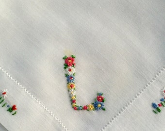 Vintage White Hanky With an Embroidered Initial L - Handkerchief Hankie