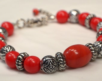 Red Beaded Bracelet, Fire Engine Red, Rustic Silver Bracelet, Red Stacking Bracelet, Red And Silver Bracelet, Cherry Red Bracelet (B31)