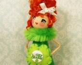 St Patricks Day doll lucky charm green shamrock clover St Pats tree topper ooak art doll centerpiece vintage retro inspired  Irish girl