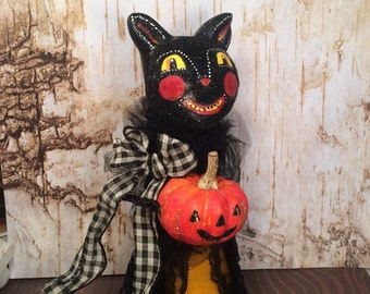Halloween cat tree topper vintage retro black cat centerpiece paper clay cat jack o lantern halloween decor toni kelly original black orange