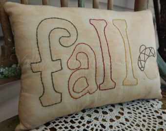 Fall Hand Stitched Pillow, Acorn, Tea Stained