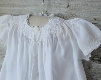 Fellman Brothers Hand Made Smocked Dress, White, Infant Dress, baby Girl Clothes, Shower Gift, 6 month to 12 months