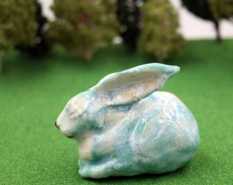 rabbit figurine -  blue bunny - porcelain sculpture