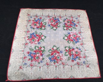 Vintage Red and Blue Floral Print Ladies' Hankie/Handkerchief