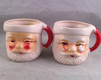 Pair of  Vintage Santa Claus Head Christmas Mugs