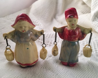 Pair of Vintage Made in Japan Resin Dutch Water Boy and Girl