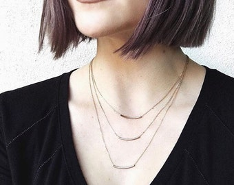 jewelry should be all-around chic and timeless. delicate gold balance bar necklace. handmade by SimaG