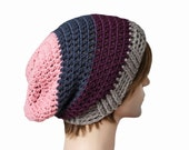 Pink, Navy Blue, Purple and Grey Striped Slouch Beanie Slouchy Beanie Mens Womens