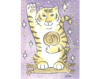 Tiger Luck - Choose from ACEO Print, Note Cards, or Art Print