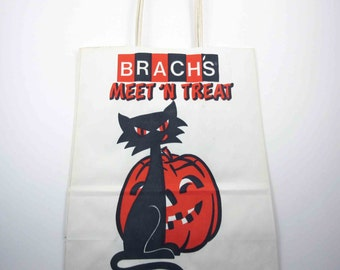 Vintage Unused NOS Brach's Candy Halloween Trick or Treat Bag with Black Cat and Jack o Lantern