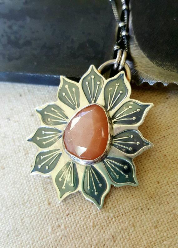 Peach Moonstone Pendant Necklace Lotus Flower Sterling