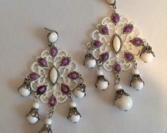 CHANDELIER BOHEMIAN QUEEN bright purple white blanco drop bead boho filigree cameo cabachon oversized earring large big diva glam wives