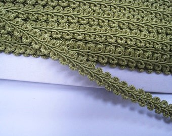 4 to 6 yards Medium Gimp Braid Trim 3/8 inch or 10mm Width - Choose Your Own Yards - Number 193 Olive Green