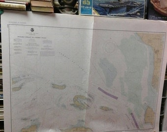 """HUGE SALE Nautical Chart 18431 c.1979, 48""""x36"""" Map USA, West Coast, Rosario Straight to Cherry Point , Pacific Ocean, Harbor,  Maritime, Art"""