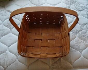 "1992 Longaberger 12"" Square Fixed Handle Basket, Hand Woven Basket, Ohio Basket, Folk Art, Country Egg Basket, Gathering Basket, Flowers"