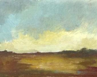 MINI 1608, 0il painting original landscape, miniature art, 100% charity donation, oil painting on cardboard