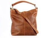 Tan Leather Handbag, Hobo, Tote, Purse