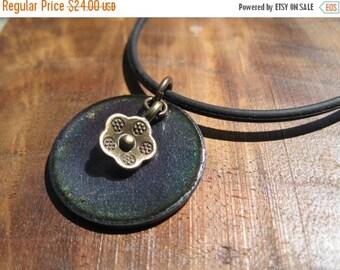 SALE Purple Enamel Necklace, Enamel Flower Necklace, Copper Enamel Jewelry, Purple Necklace, Purple Jewelry