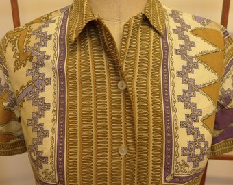 Vintage 50s Cropped Ethnic Print Blouse