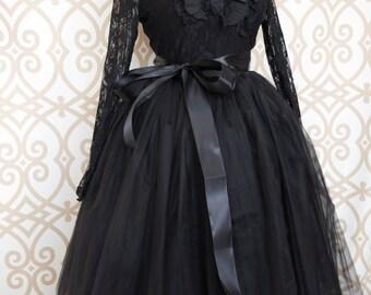Womens Tutu, Black Tulle skirt, tulle skirt, black skirt, ballet skirt, ballet tutu, Knee Length Puffy, Black Midi Tutu