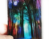 A road less traveled, miniature art, Aceo original, photography, mixed media original, colorful art, tiny, little gifts, tree art, Signore