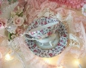 vintage rose chintz footed china teacup and saucer, cottage charm, tea party table