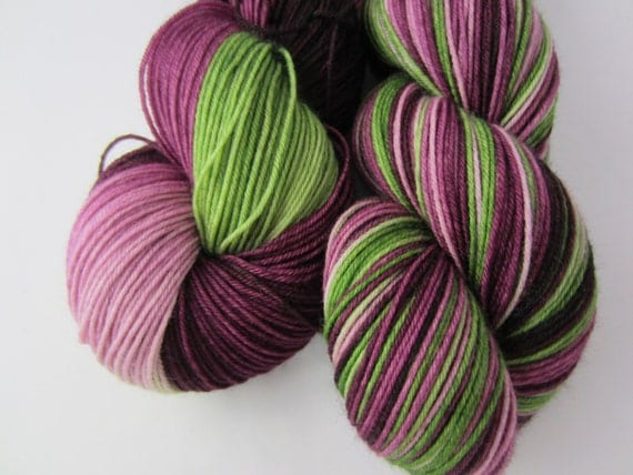 Wine Blossoms - Dyed to Order - Hand Dyed - Merino Wool Yarn - Fingering Weight