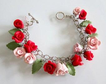 Rose Charm Bracelet, Handmade Polymer Clay Rose Bracelet, Red & Pink Rose Bracelet, Valentine Rose Bracelet, Wedding Rose Jewelry