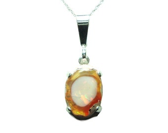 Mexican fire opal sterling pendant with chain