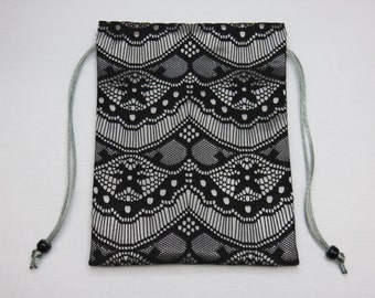 Satin and Lace Tarot Pouch Fully Lined in Silk, Tarot Bag, Tarot Pouch