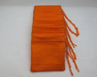 Set of 6, Orange Cotton Flannel Hoo Doo / Mojo Bags / Jewelry / Earring Pouches