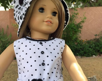 18 inch Doll Clothes Black and White Polka Dots Outfit