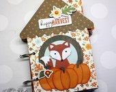 "Woodland Style ""HAPPY HARVEST"" Handmade House Shaped Chipboard Mini Scrapbook Album, Photo Album, Journal, Fall, Autumn, Fox"