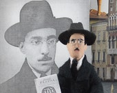 Fernando Pessoa Poet Doll Miniature Portugese Poetry Classic Literature Art Gift For Reader
