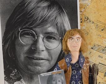 John Denver-  Doll Miniature-  Fan Art- Character Miniature- Singer Musician- Uneek Doll Designs