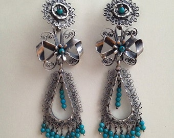 Sale Frida Kahlo style Filigree earrings with ribbon and turquoise