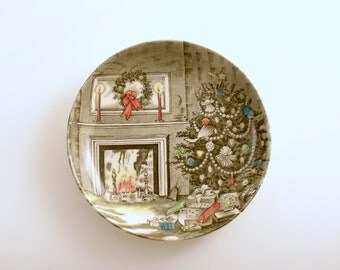 Vintage Christmas Decoration Johnson Bros Merry Christmas Coaster Trinket Dish Candy Dish Christmas Plate England