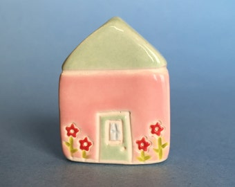 Little flower House Collectible Ceramic Miniature Clay House pink green