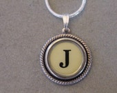 Typewriter key jewelry necklace CREAM  LETTER J  Typewriter Key Necklace Initial J serif font Initial Necklace
