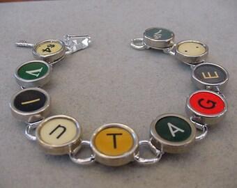 Typewriter key jewelry Bracelet - Spells VINTAGE - Colorful Typewriter key Bracelet
