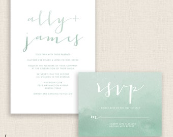 SAGE WATERCOLOR - DIY Printable Wedding Set - Invitation and Reply Card - Sage Green - Painted Watercolor - Reverse Colors